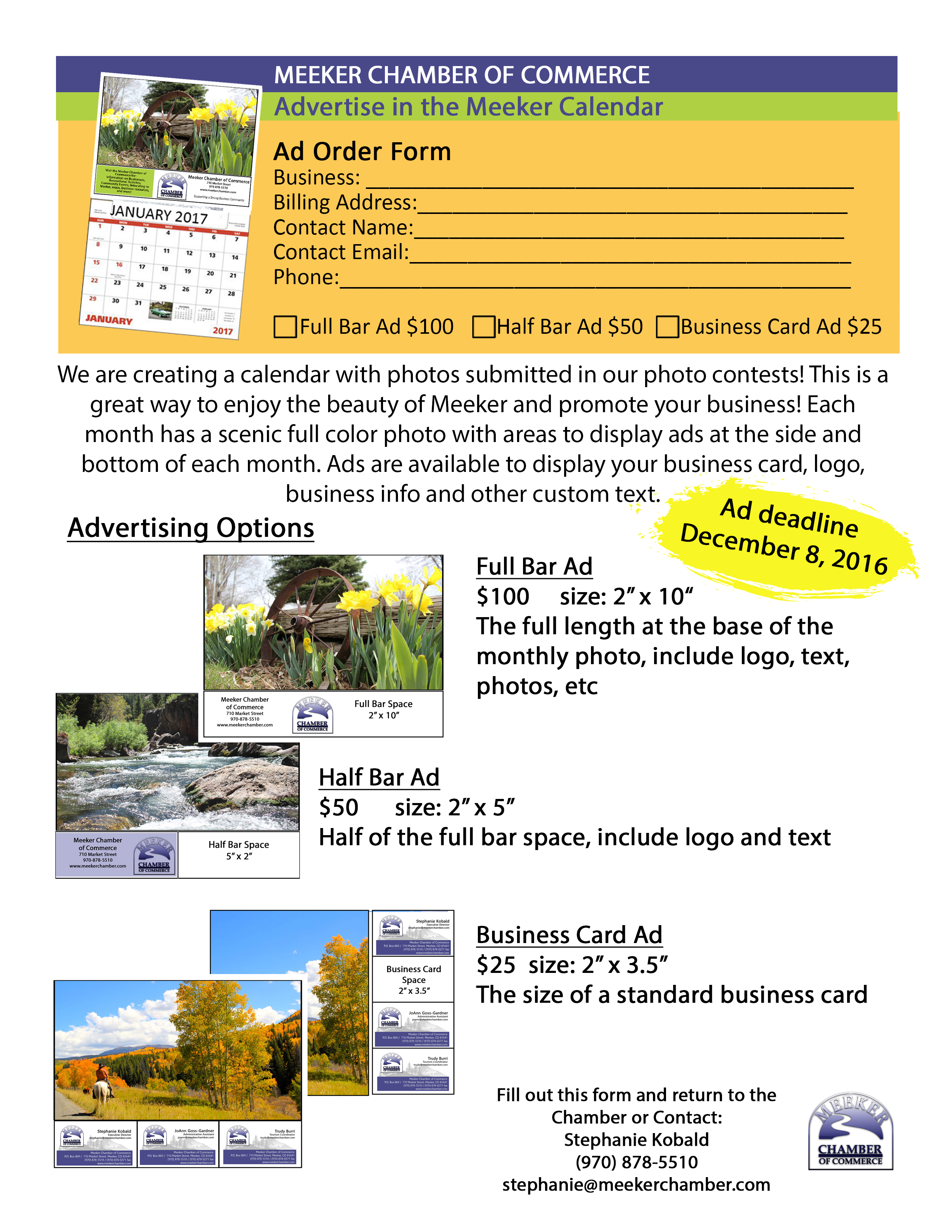 Meeker chamber of commerce advertise in the printed meeker calendar 2017 meeker calendar ad guide a reheart Gallery