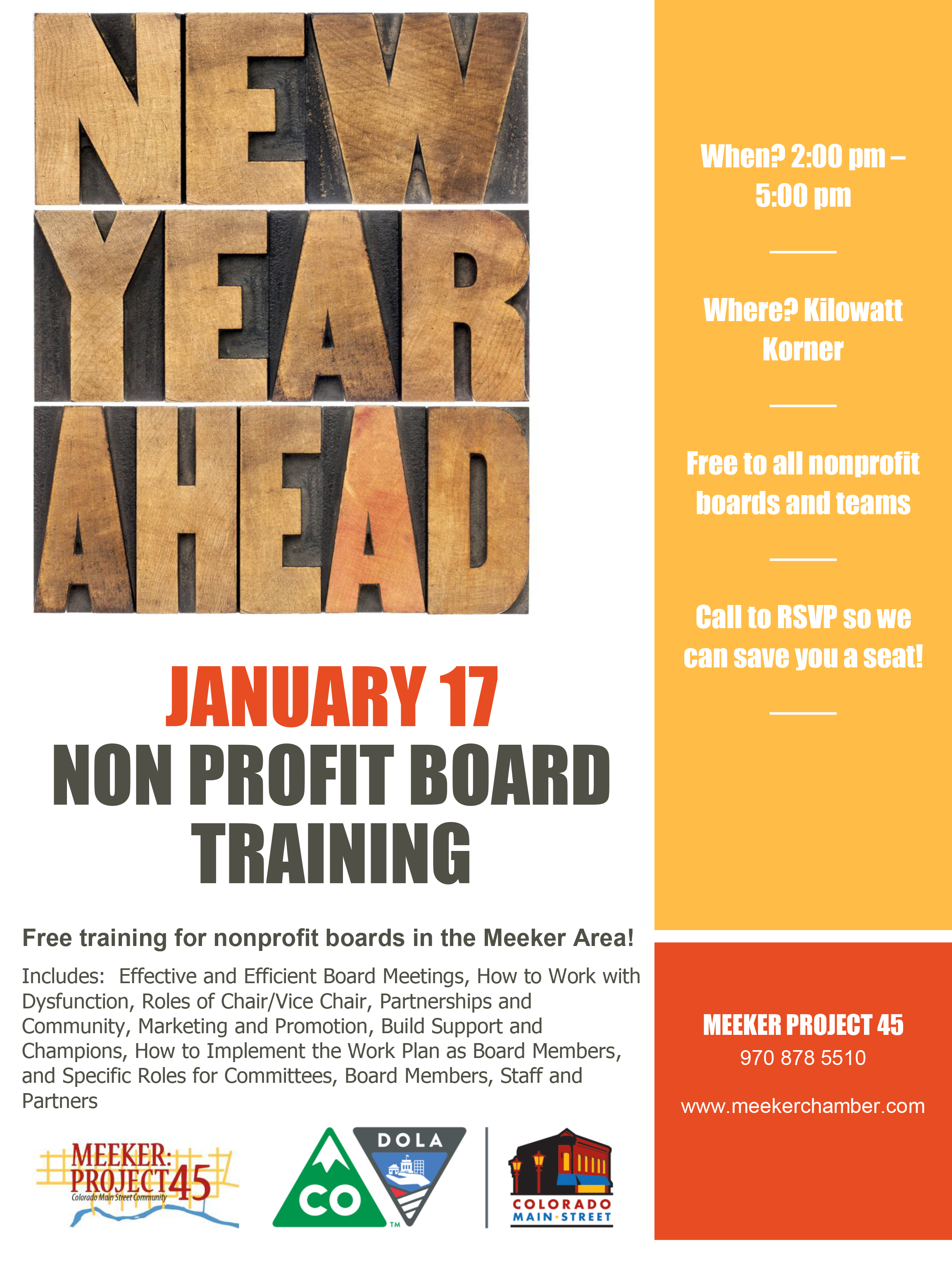 Meeker Chamber of Commerce - FREE Training for non-profit boards