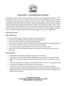 Tourism Marketing Coordinator Job Description 2017